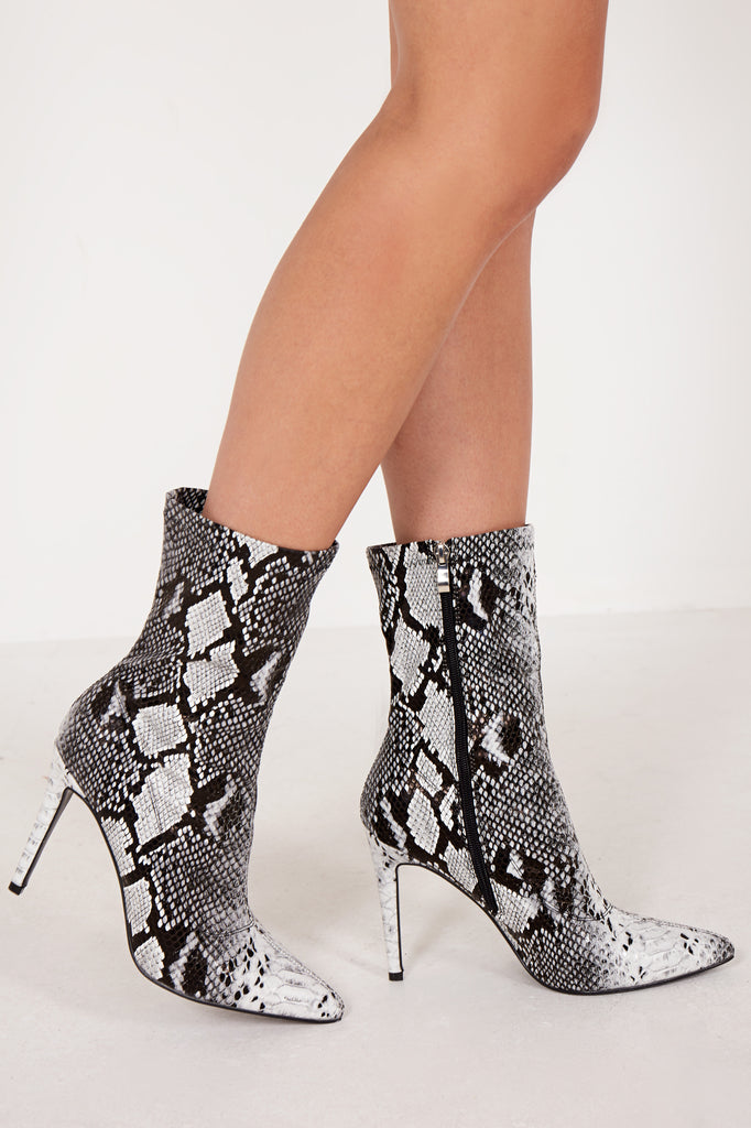 Nascala Grey Snake Print Ankle Boot