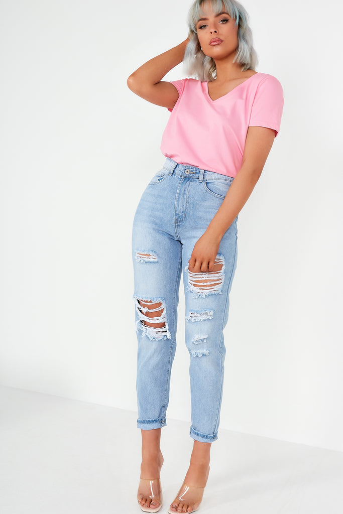 Nat Blue Extreme Distressed Boyfriend Jeans