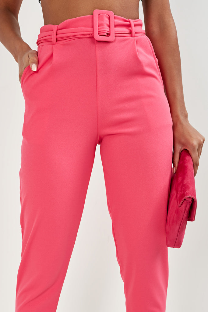 Natia Pink Belted Trousers