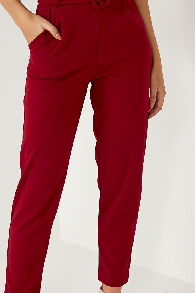 Natia Wine Belted Trousers