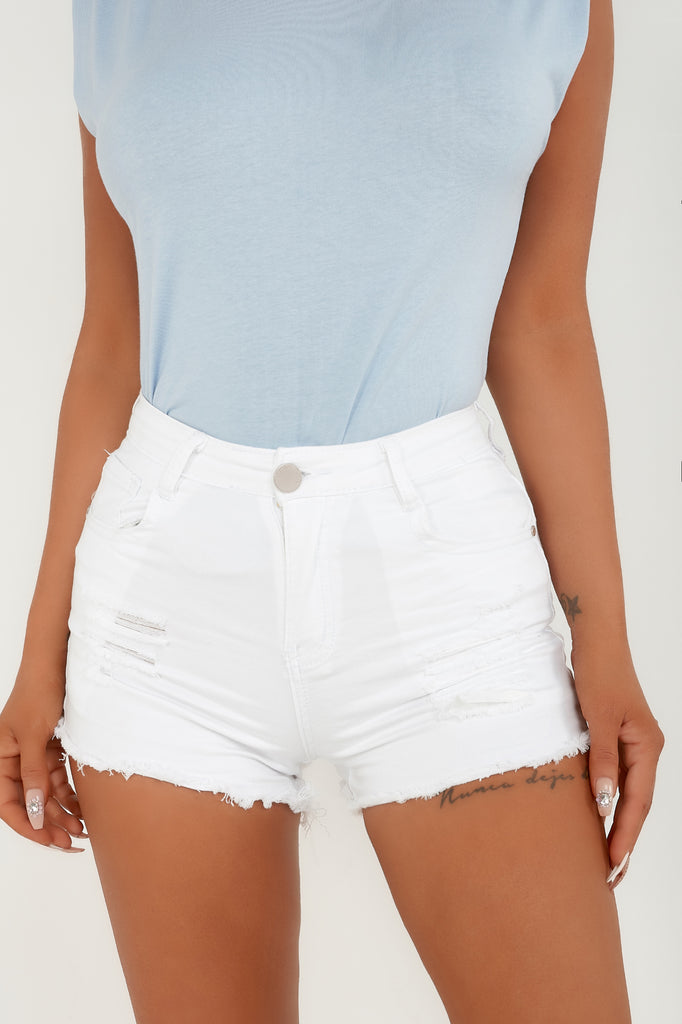 Naz White Frayed High Rise Denim Shorts
