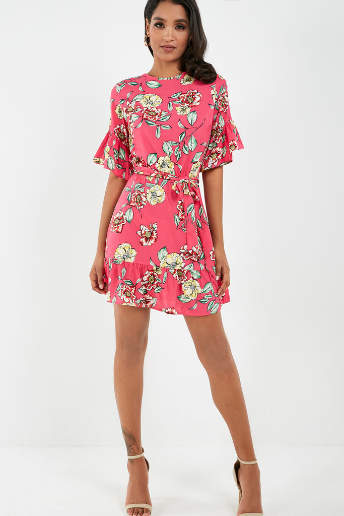 Nell Pink Floral Print Mini Dress