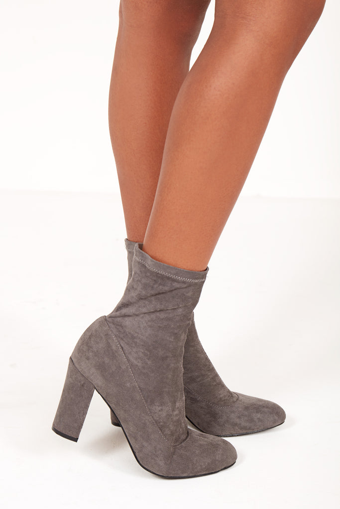 Nells Grey Suedette Sock Boot