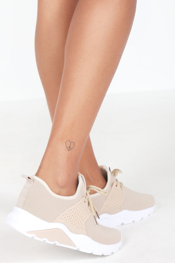 Nelson Beige Fabric Lace Up Trainers