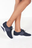 Nelson Navy Fabric Lace Up Trainers