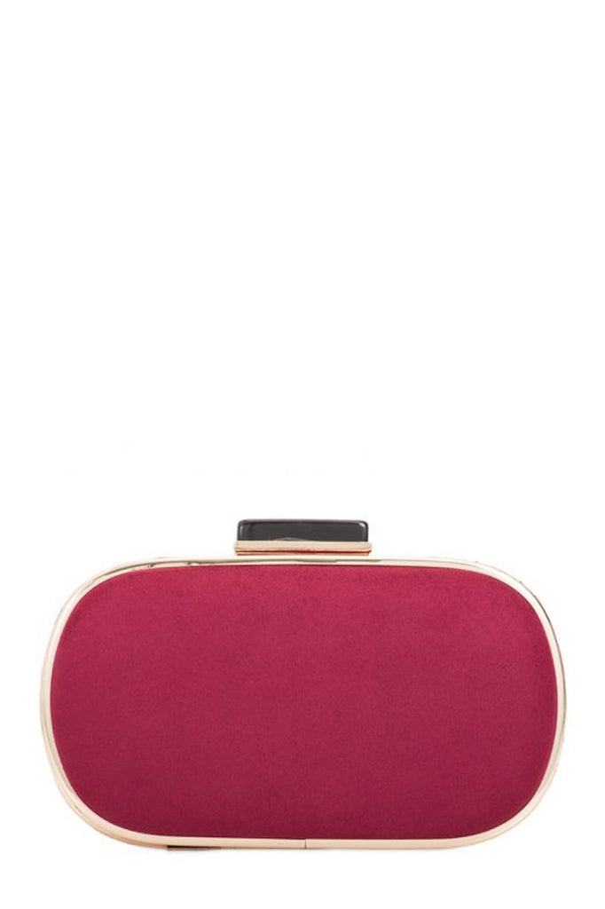 Nemmie Burgundy Suedette Oval Clutch Bag (1603286237250)