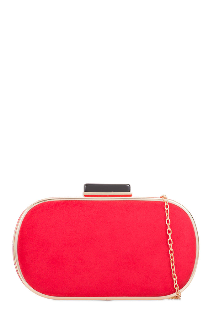 Nemmie Red Suedette Oval Clutch Bag (1603279388738)