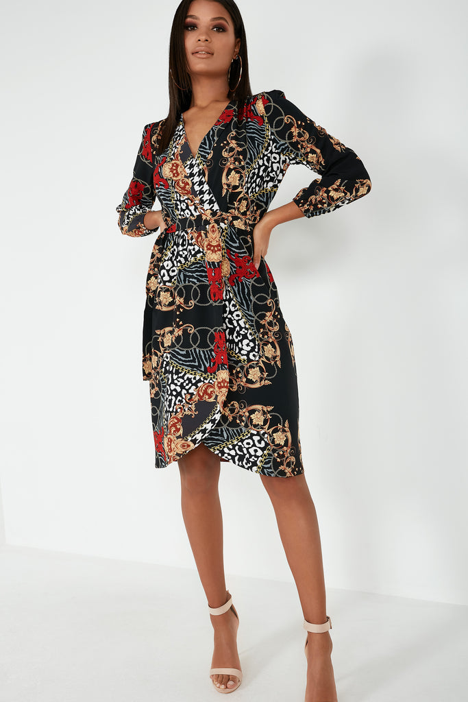 Nerinda Scarf Print Wrap Midi Dress