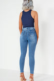 Nessa Blue Distressed Hem Bum Sculpt Skinny Jeans