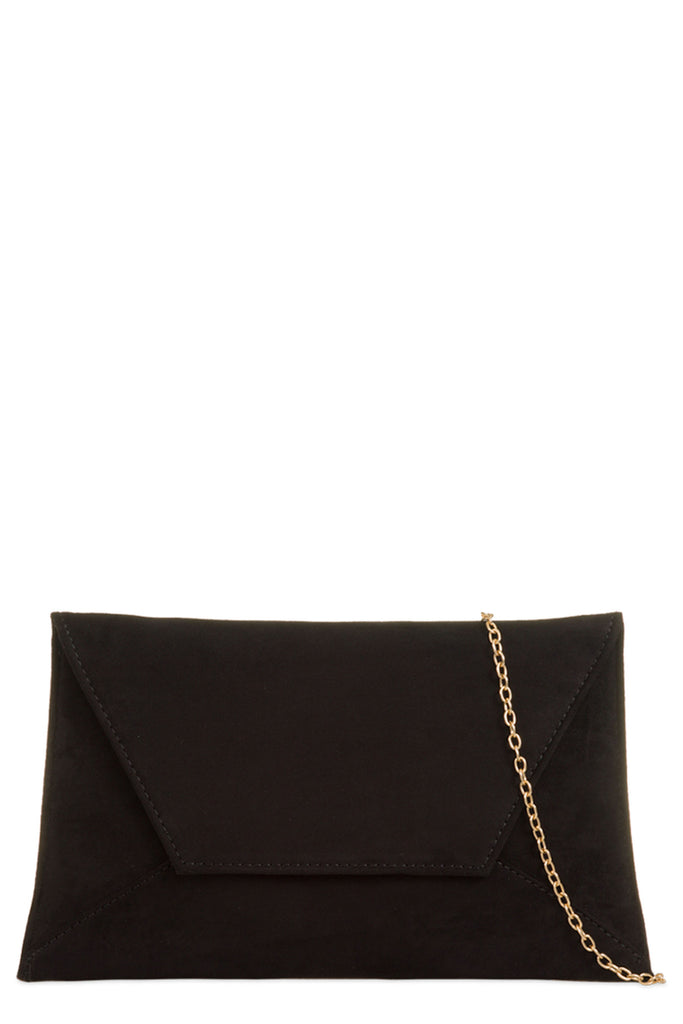 Nettie Black Suedette Envelope Clutch Bag