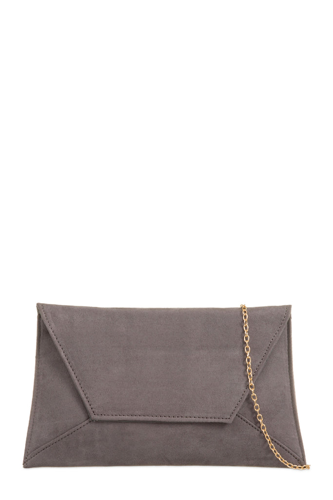 Nettie Grey Suedette Envelope Clutch Bag (8160324560)