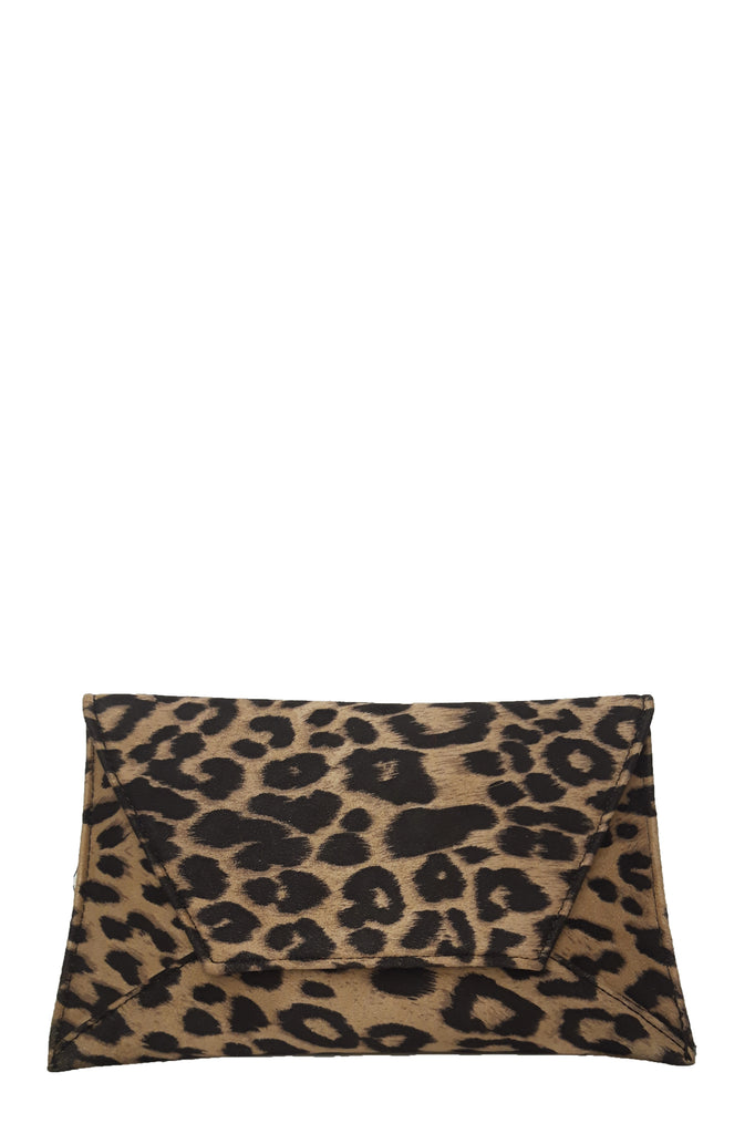 Nettie Leopard Suedette Envelope Clutch Bag