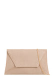Nettie Nude Suedette Envelope Clutch Bag