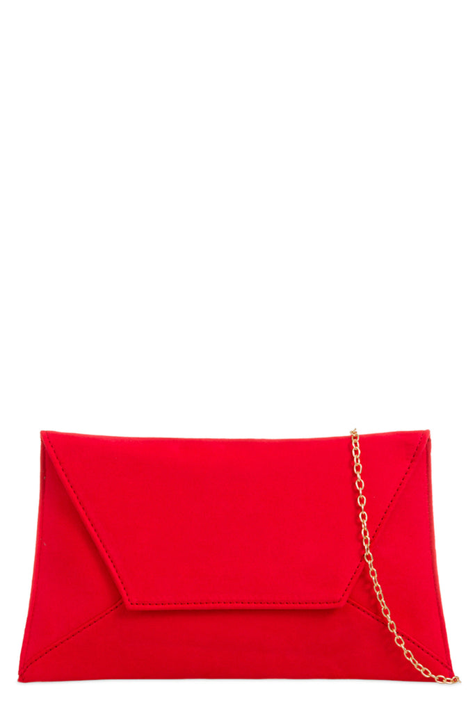 Nettie Red Suedette Envelope Clutch Bag (8431464784)