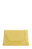 Nettie Yellow Suedette Envelope Clutch Bag