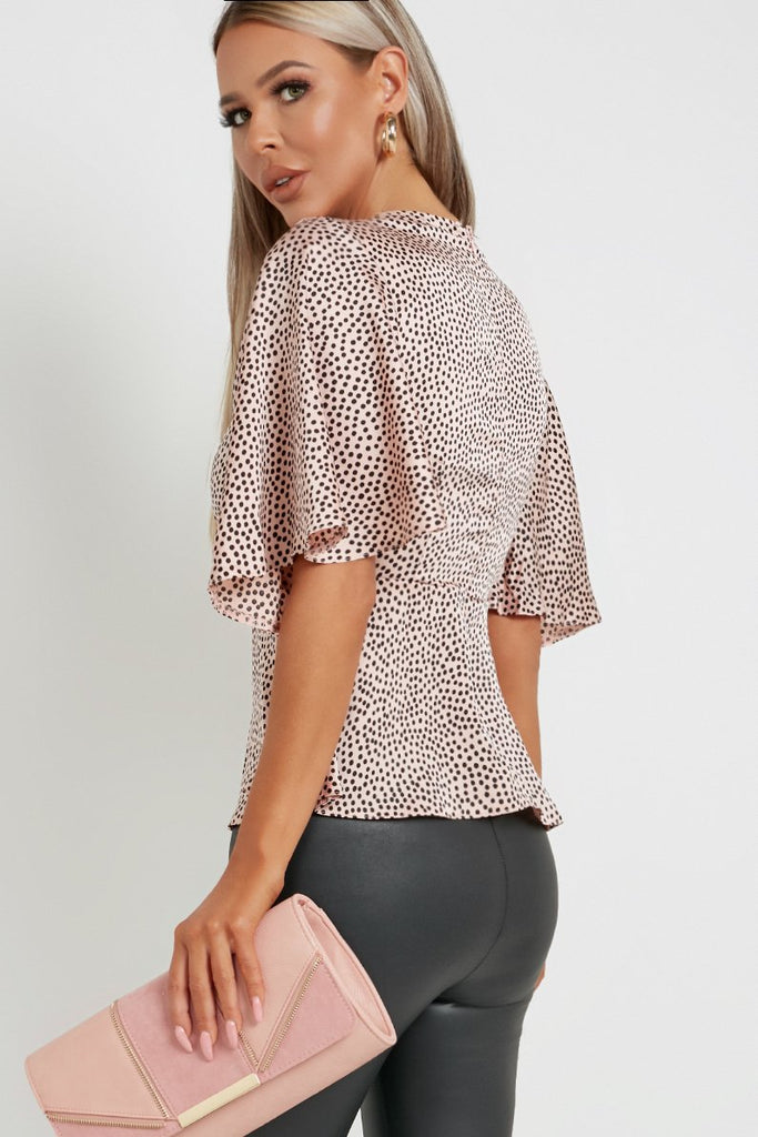 Nia Pink Spotty Flared Blouse