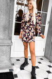 Valencia Black And Nude Floral Long Sleeve Dress