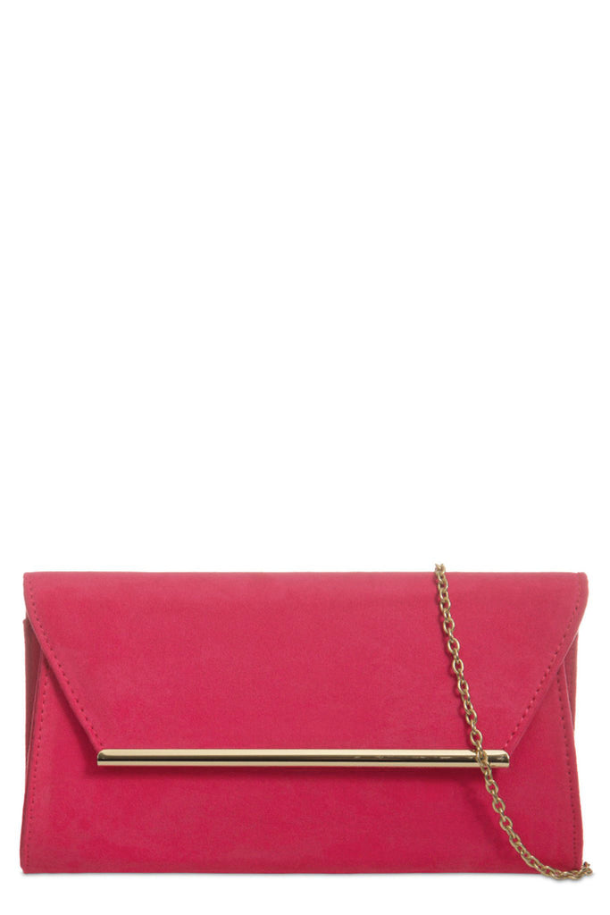 Nicole Fuchsia Suede Gold Trim Clutch Bag (8431296400)