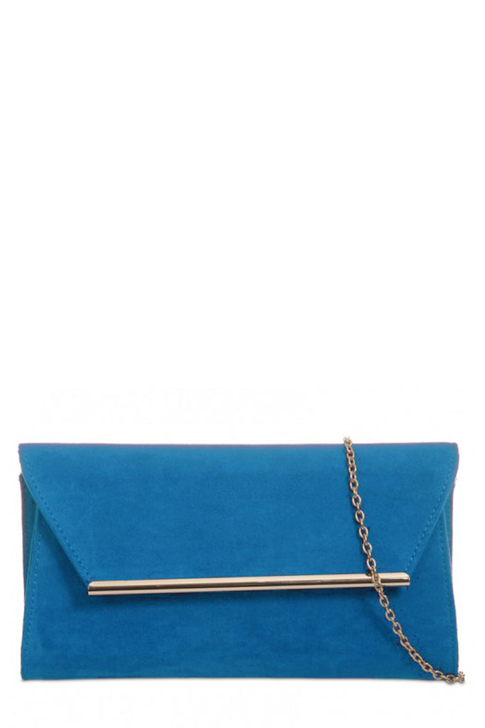 Nicole Teal Suede Gold Trim Clutch Bag (31182028816)