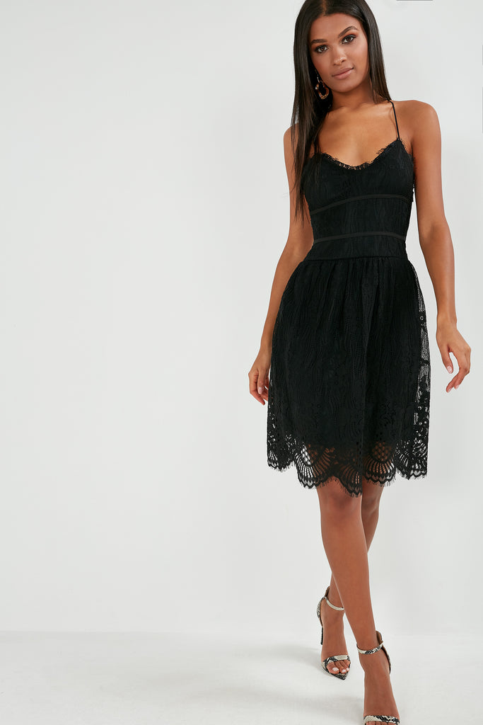 Nigella Black Lace Strappy Dress