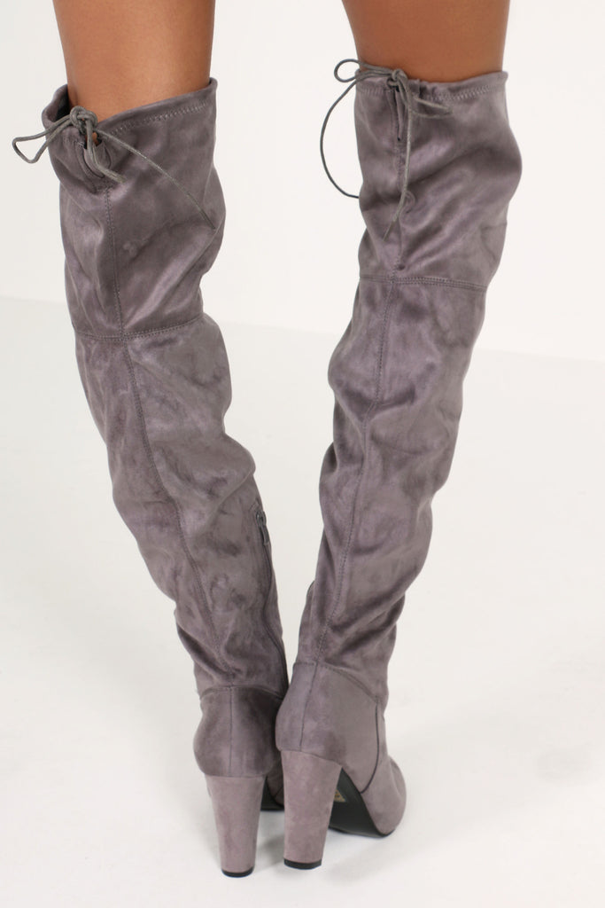 Niki Grey Suedette Over The Knee Boots