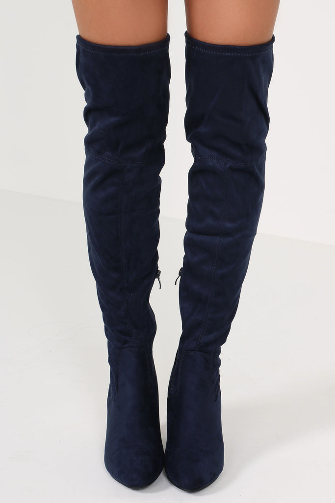 Niki Navy Suede Over The Knee Boots