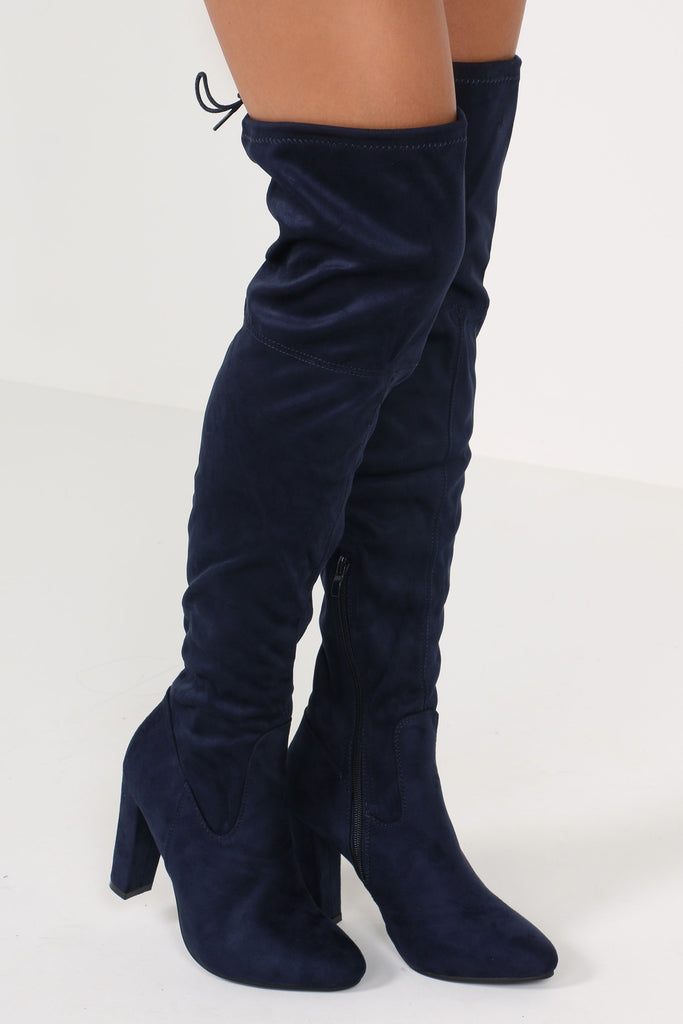 21c7ffebb1c Niki Navy Suedette Over The Knee Boots