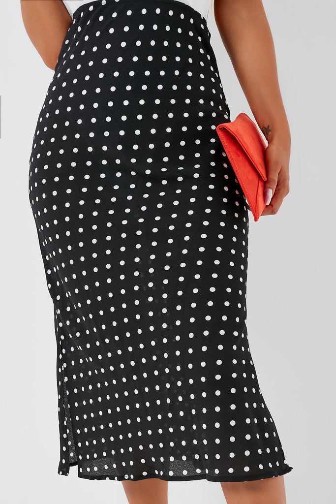 Nina Black Polka dot Midi Skirt (1948641165378)