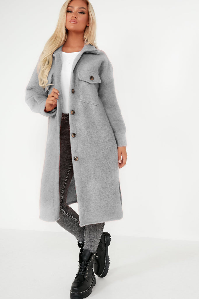 Nita Grey Longline Shacket