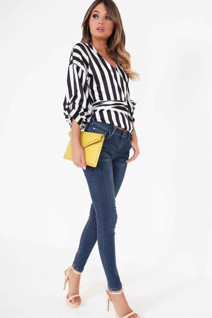 Noelle Monochrome Striped Wrap Top