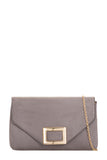 Nollie Grey Suede Buckle Clutch (1482083795010)