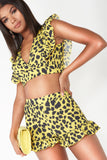 Nora Yellow Animal Print Frill Shorts
