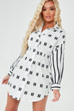 Norah Monochrome Striped Sleeve Printed Shirt Dress