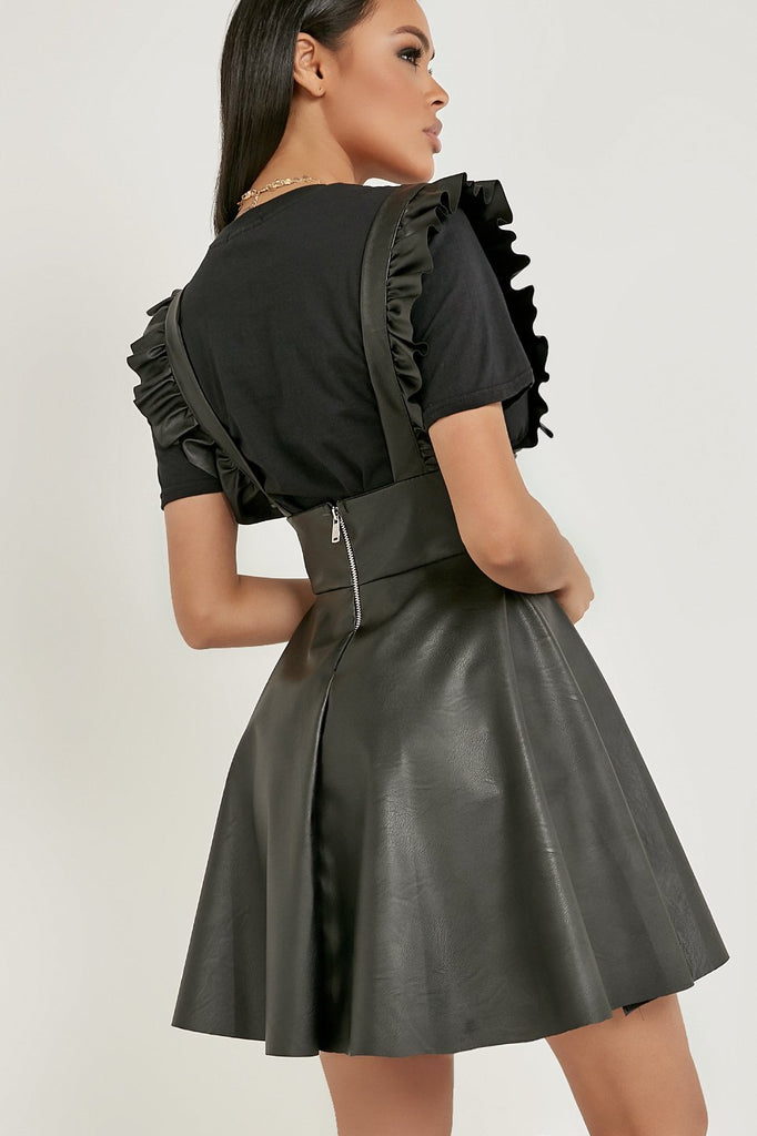 Norma Jean Black Faux Leather Frill Pinafore Dress