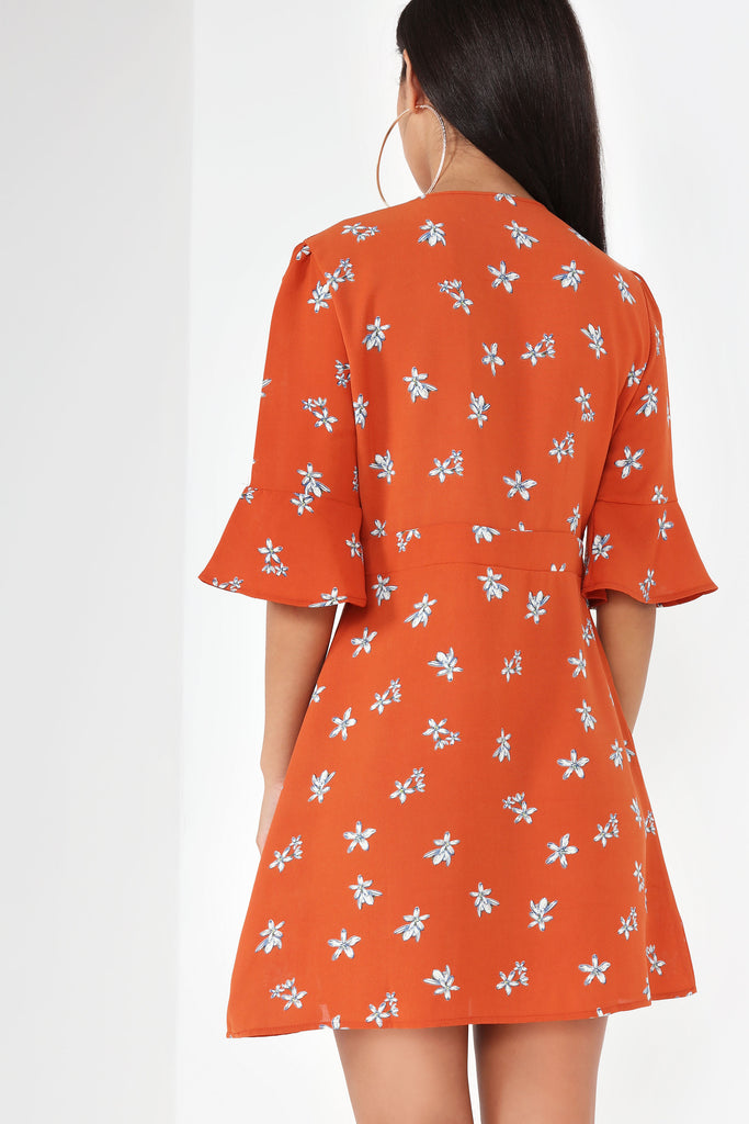 Nova Rust Floral Tie Front Dress