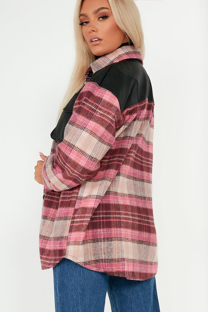Novie Pink Check PU Detail Shacket