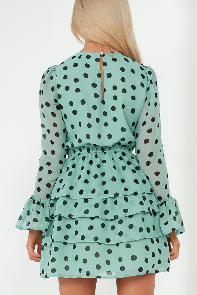 Nylah Sage Polka Dot Tiered Mini Dress