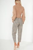 Oakley Beige Check Paperbag Trousers (1611993579586)