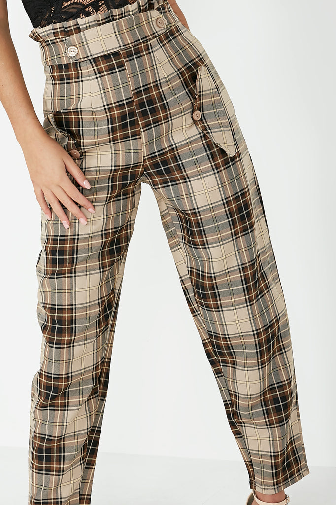 Oakley Brown Check Paperbag Trousers