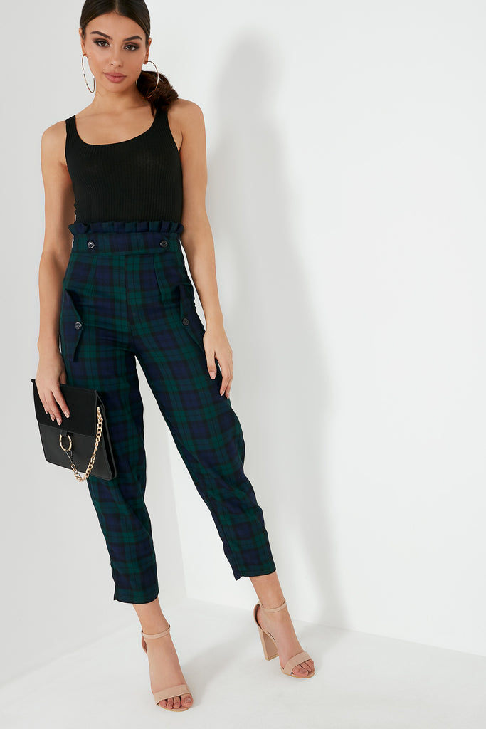 Oakley Navy Check Paperbag Trousers