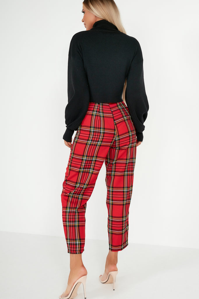 Oakley Red Check Paperbag Trousers