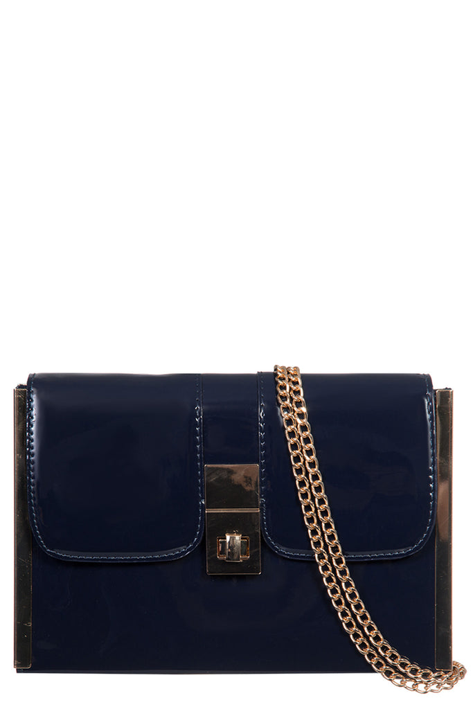 Odette Navy Patent Structured Clutch Bag