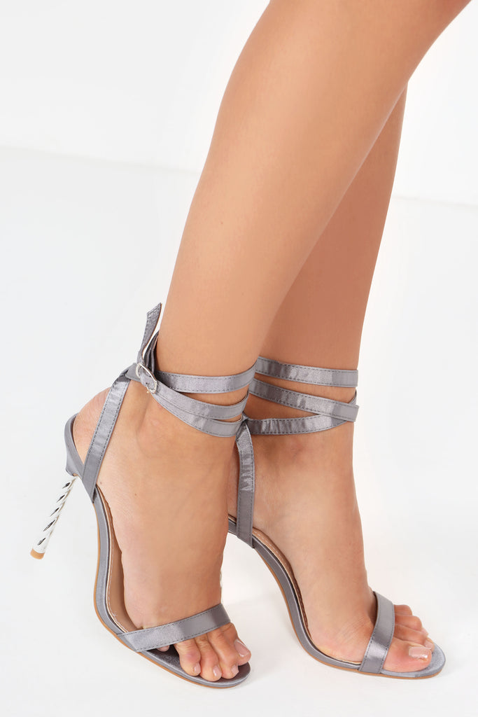 Ofira Grey Satin Barely There Sandals (9746658960)