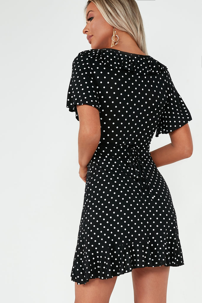 Ohara Black Polka Dot Frill Dress