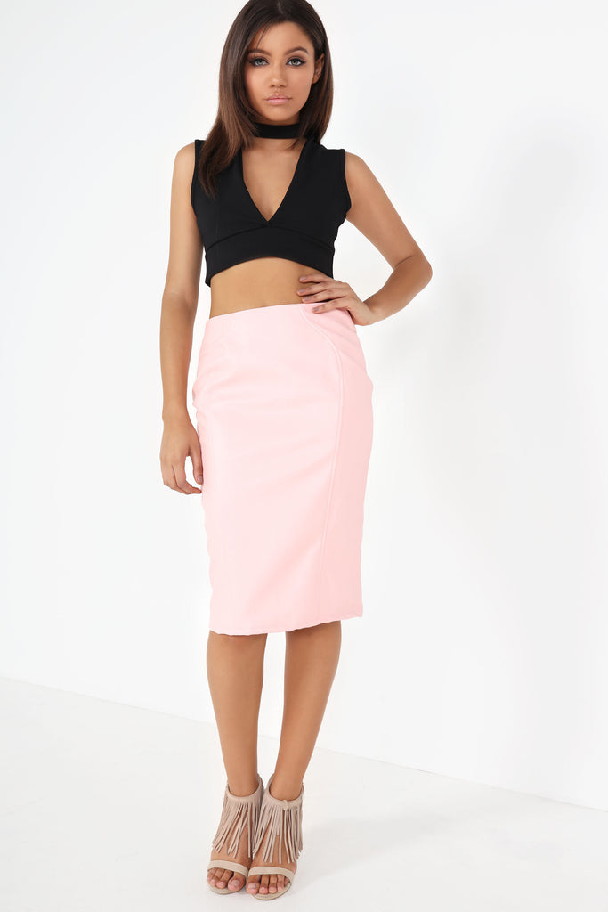 Ola Pink Faux Leather Pencil Skirt (8487423888)