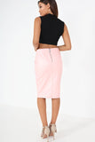Ola Pink Faux Leather Pencil Skirt