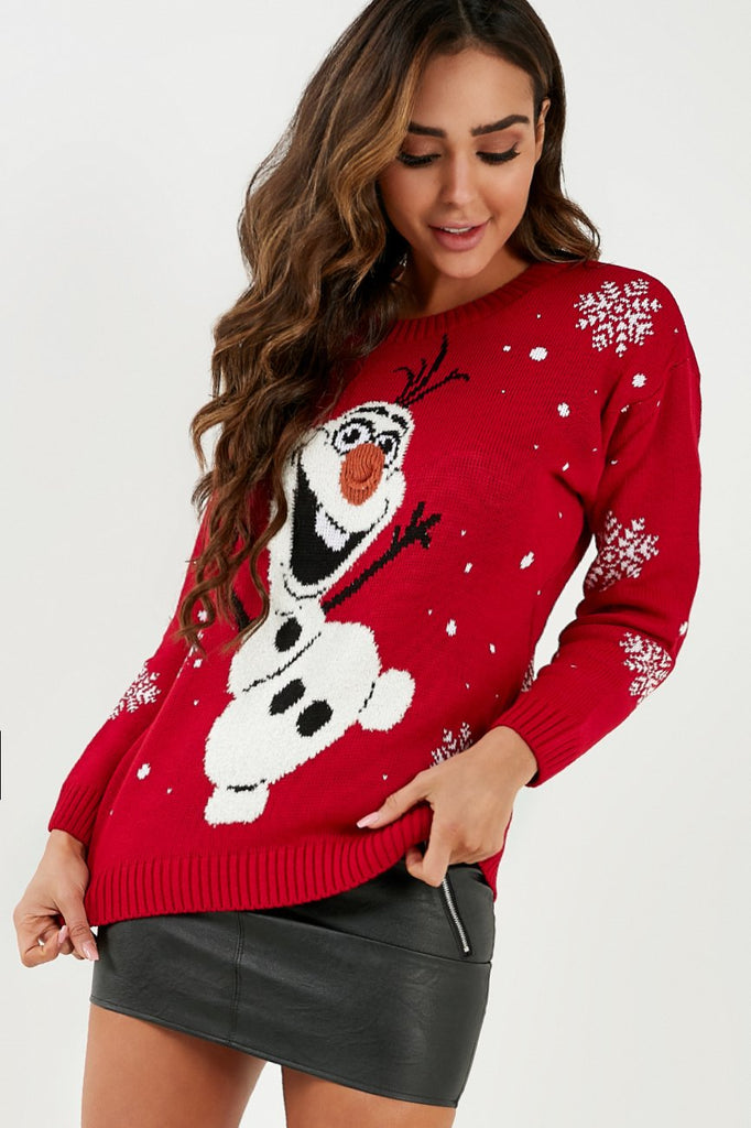 Olaf Red Knitted Christmas Jumper