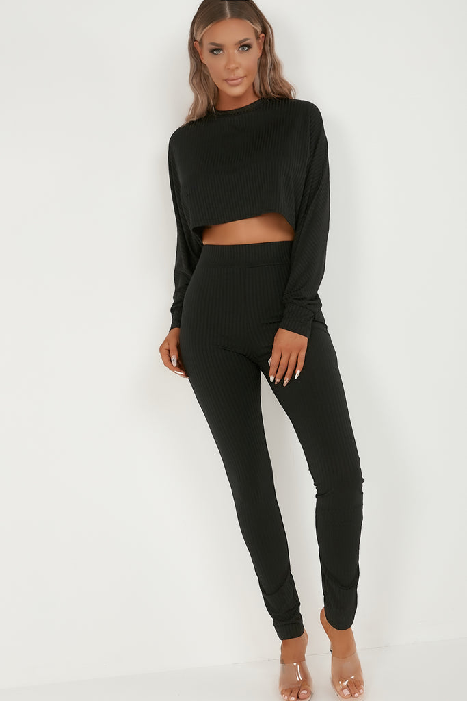 Olena Black Batwing Top Trouser Co Ord