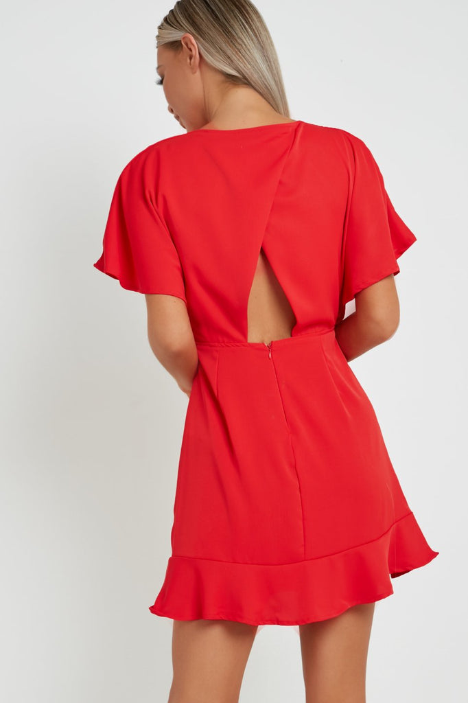 Oletta Red Cross Over Back Skater Dress