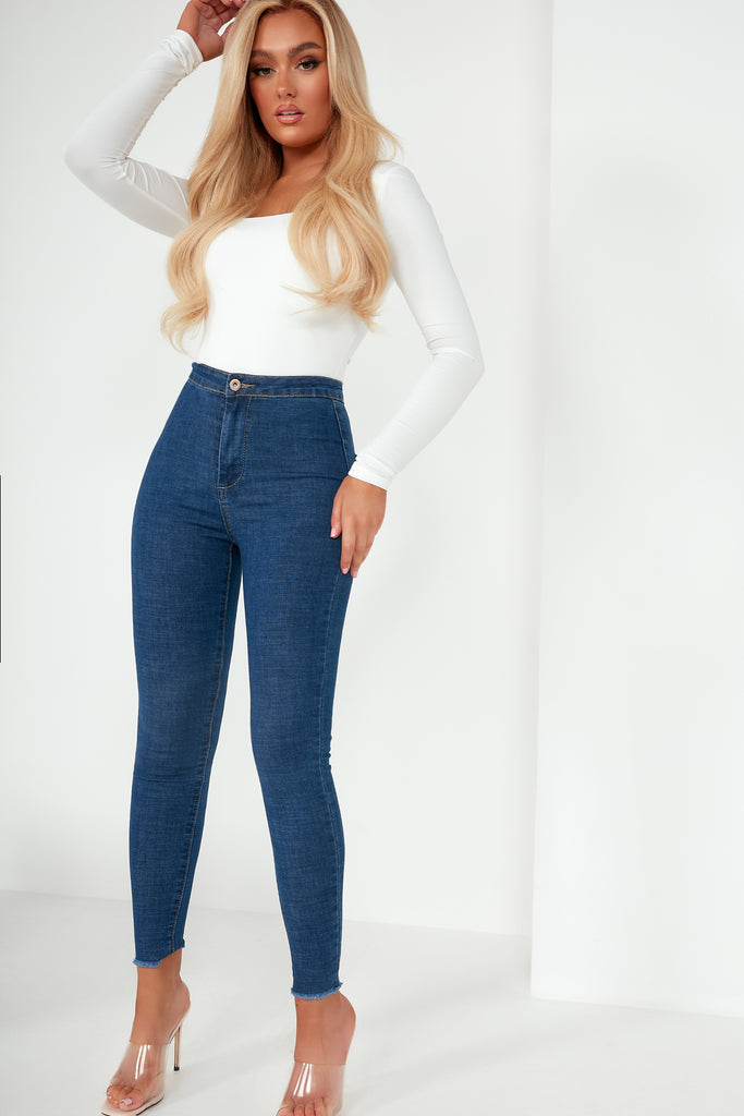 Olive Blue Basic High Waist Jeans